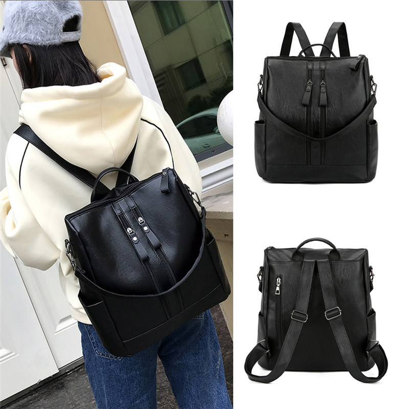 Women Small Backpack Leather School Backpack Bag Fashion Waterproof Travel Bag Casual Leather Book Bag Female Handbag Satchel