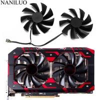 95mm PLD10015B12H 0.55A RX580 RX590 Para Radeon POWERCOLOR DATALAND RX 580 590 Diabo Vermelho Dourado Amostra de Refrigeração da Placa Gráfica fã
