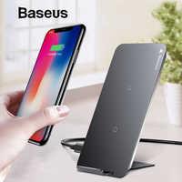 Baseus 10 w qi carregador sem fio para iphone x xs max xr samsung s9 s8 nota 9 rápido qi sem fio de carregamento seguro desktop suporte carregamento