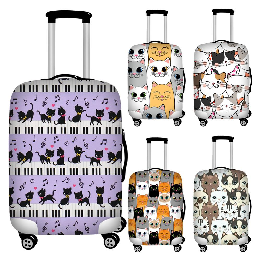 Twoheartsgirl Cartoon Music Cat Print Travel Luggage Protective Dust Cover Elastic 18-32inch Suitcase Protector Baggage Covers