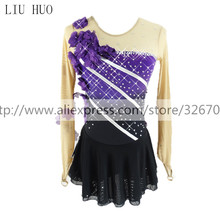 Figure Skating Dress Women's Girls' Ice Skating Dress Purple flower black Round neck long sleeve Competition Stripe pattern цена 2017