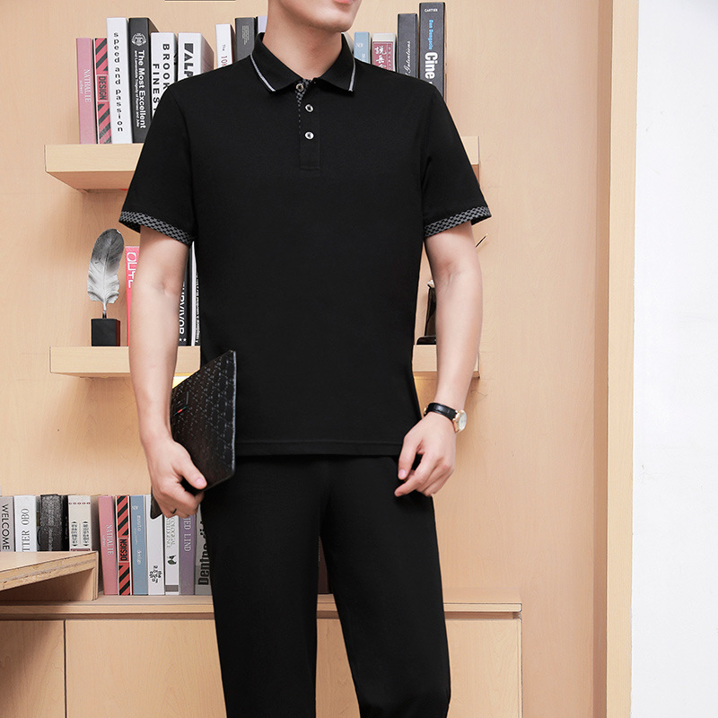 Middle Aged And Elderly People Sports Leisure Suit Men Youth Cotton Short Sleeve T-shirt Fold-down Collar Summer Breathable Dad