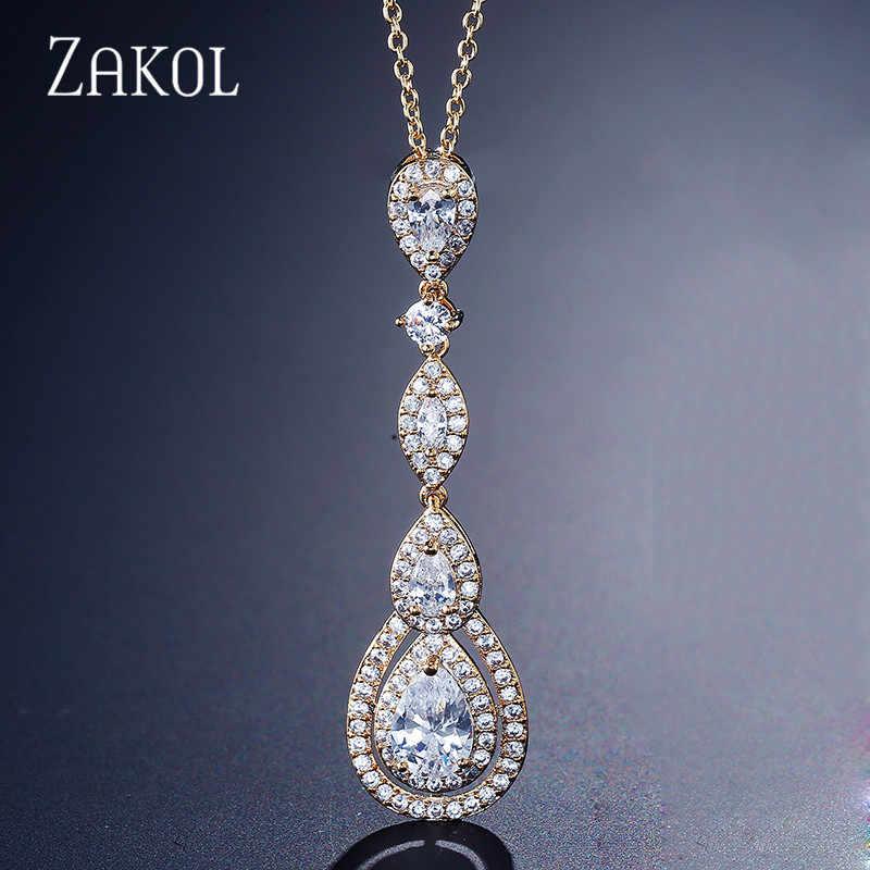 ZAKOL luksusowa kropla wody gruszka Cubic cyrkon długi wisiorek i naszyjniki dla eleganckich kobiet sukienka do biżuterii ślubnej FSNP2038