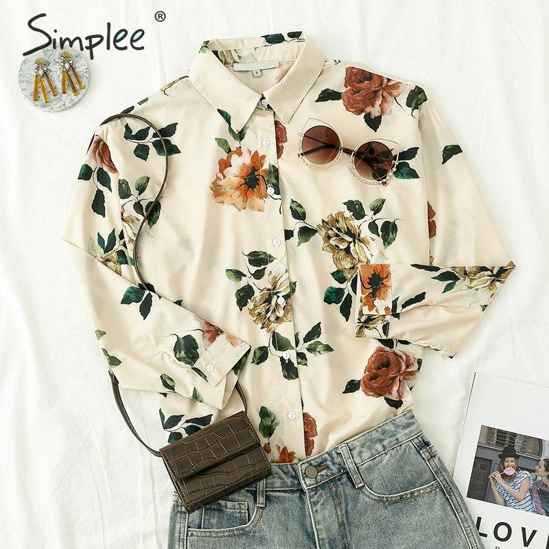 Simplee Повседневная блузка с длинным рукавом на пуговицах с отворотом женская Элегантная цветочная блузка офисная женская винтажная свободн...