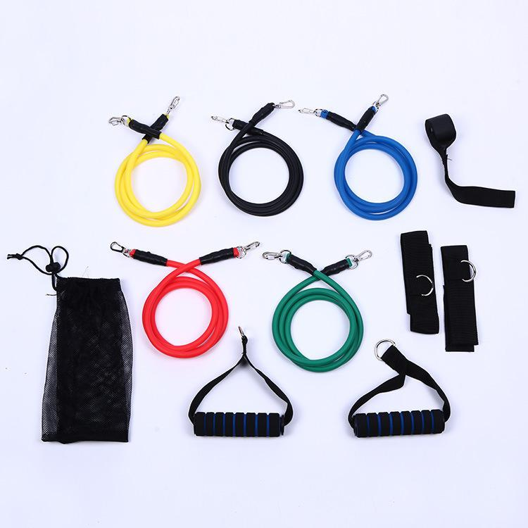 HiMISS 11PCS/Set Pull Rope Set TPE Elastic Tube Resistance Training Device Fitness Equipment Exercise Kit Foaming Handle