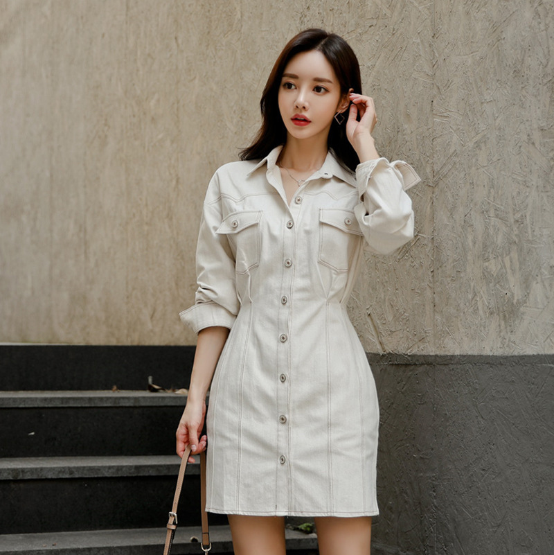 Dress 2019 Autumn And Winter New Products Debutante WOMEN'S Dress Elegant Fashion Cowboy Long Sleeve One-step Skirt