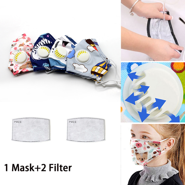 Kids Cotton PM2.5 Cute Cartoon Masks Mouth-Muffle Face-Shields with Breathing Valve And 2 Filters for 2-12 Years Old Children 1