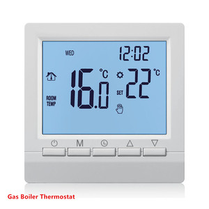 Gas Boiler Heating Thermostat Blue 1.5V Battery Powered Temperature Regulator for Boilers Weekly Programmable(China)