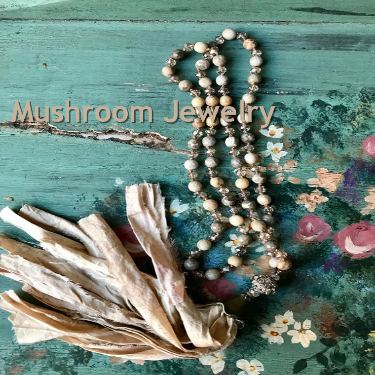 Romantic Shabby BoHo Jaspers And Crystal Beads Glam <font><b>Sari</b></font> <font><b>Silk</b></font> <font><b>Tassel</b></font> Necklace Neutral Stone Unique accessory Beads Necklace image