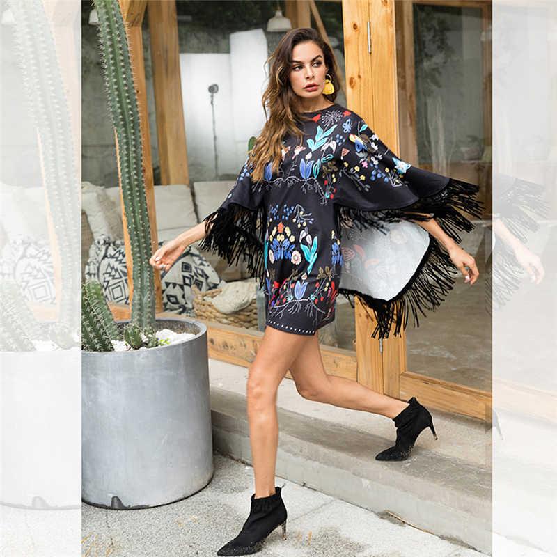 Элегантное женское платье больших размеров, роскошное осеннее платье, женские рукава накидки, винтажные платья, женские вечерние короткие платья, ropa mujer vadim