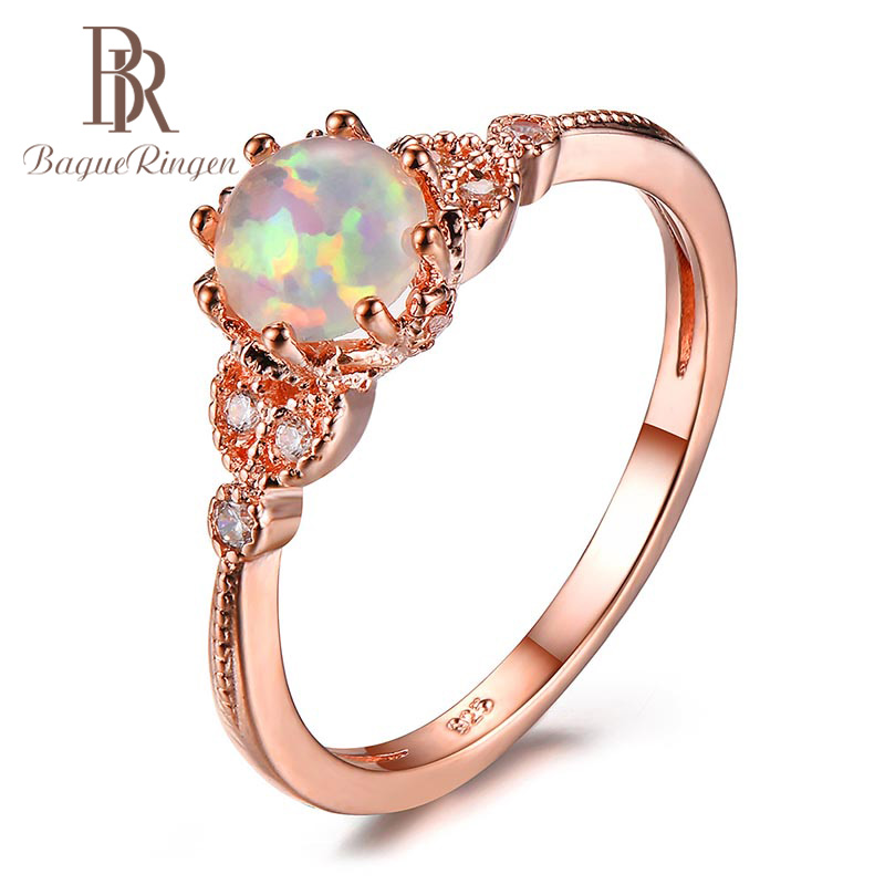 Bague Ringen 100% Real Sterling 925 Silver Finger Ring With Round Opal Zircon Gemstone  Jewelry Wedding Party Gift For Women