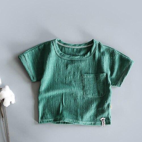 Японская хлопковая тонкая футболка в стиле ретро с коротким рукавом из конопли для малышей летняя рубашка из бамбукового хлопка с коротким рукавом для мальчиков и девочек - Цвет: Синий