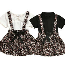 Toddler Kids Baby Girl Short Sleeve Lace Top T-Shirt+Leopard Suspender Skirt 2Pcs Summer Outfits Set Clothes 0-4Years(China)