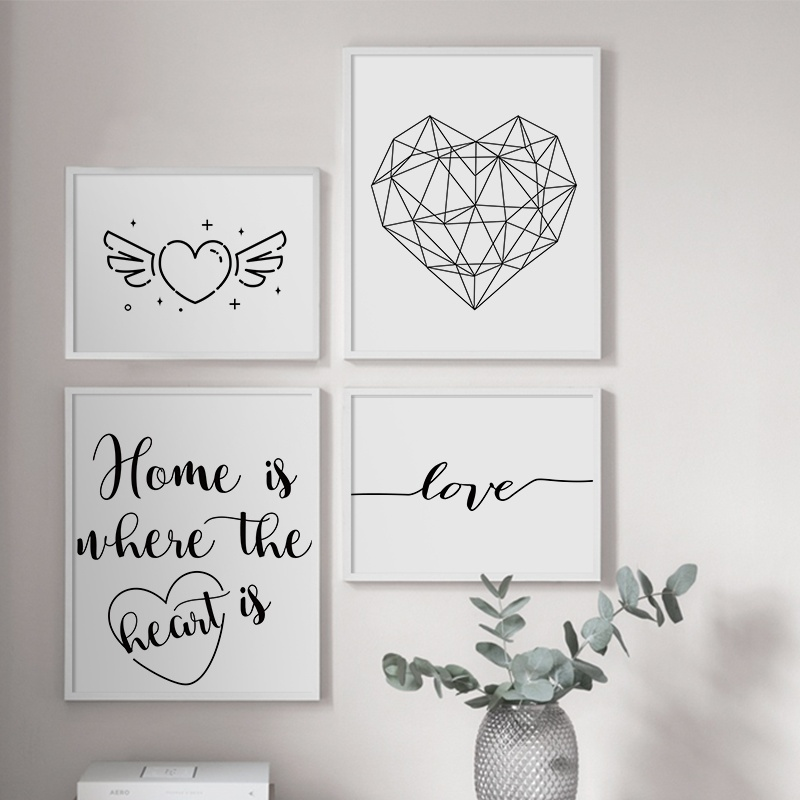 Geometric Heart Love Quotes Black White Wall Art Canvas Painting Nordic Posters And Prints Wall Pictures For Living Room Decor