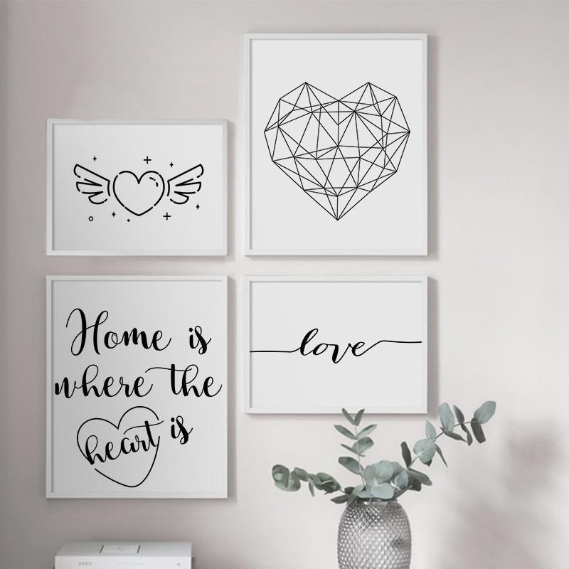Geometrische Herz Liebe Zitate Schwarz Weiß Wand Kunst Leinwand Malerei Nordic Poster Und Drucke Wand Bilder Für Wohnzimmer Decor