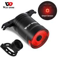 WEST BIKING-Luz LED trasera inteligente para bicicleta, recargable vía USB, encendido/apagado automático, resistente al agua, sensor de freno, luz de advertencia de seguridad