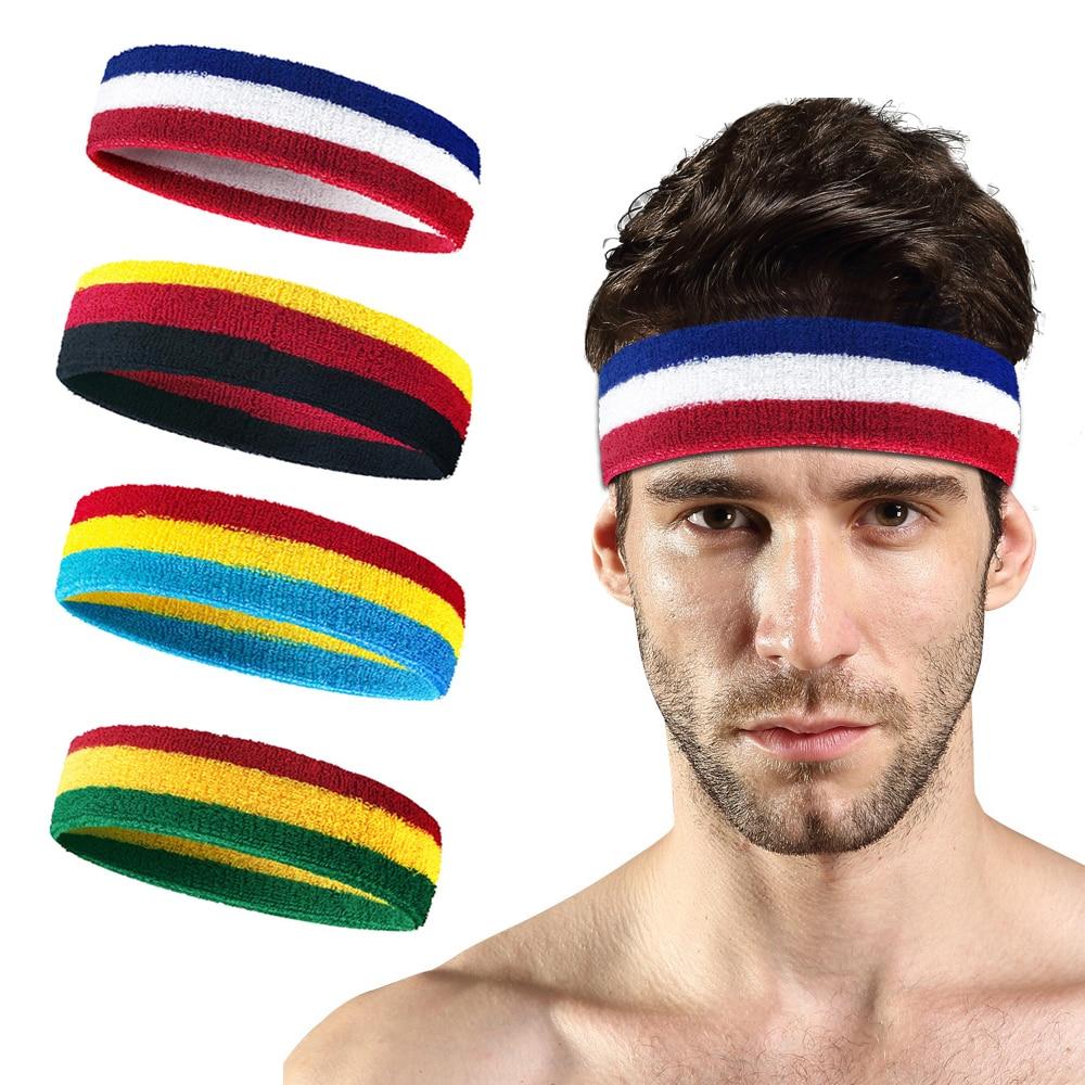 Colorful Rainbow Vintage Hairband Elastic Soft Wide Headband Women Sports Dance Head Wrap Running Boxing Anti-Sweat Band