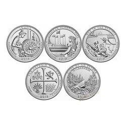Набор из 5 предметов для США, памятные монеты 2019 в стиле национального парка, 25 центов, оригинальные монеты UNC для Айдахо, Техаса, Гуам, Мариан...