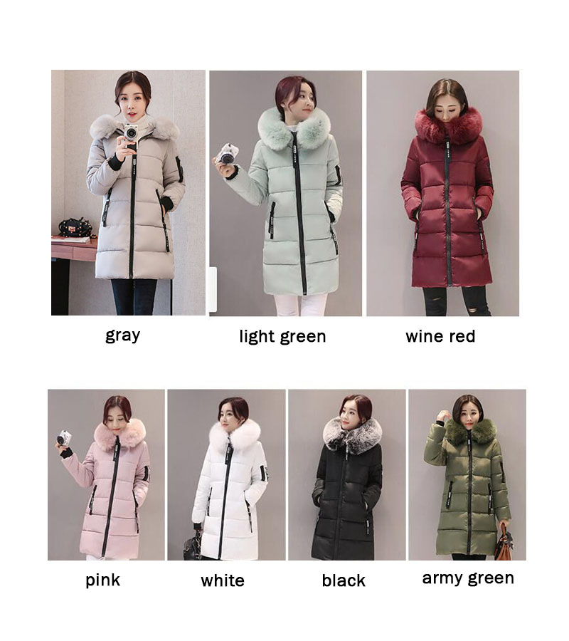 Parka Women Winter Coats Long Cotton Casual Fur Hooded Jackets Women Thick Warm Winter Parkas Female Overcoat Coat 19 MLD1268 23