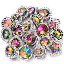 10pcs/lot High Quality Snap Button Jewelry DIY Crystal Rhinestone Flower 18mm 20mm Metal Snap Buttons Fit Snap Bracelet Bangle 6pcs lot 2019 new snap jewelry mixed colorful rhinestone crystal 18mm snap button jewelry fit snap bracelet diy charms jewelry