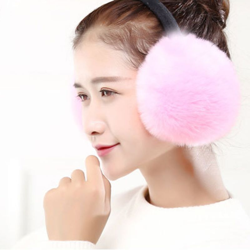 Women Women Girls Winter Sweet Solid Candy Color Earmuff Artificial Rabbit Fur Fluffy Big Pompom Ball Earflap Stretchy Ear Clasp