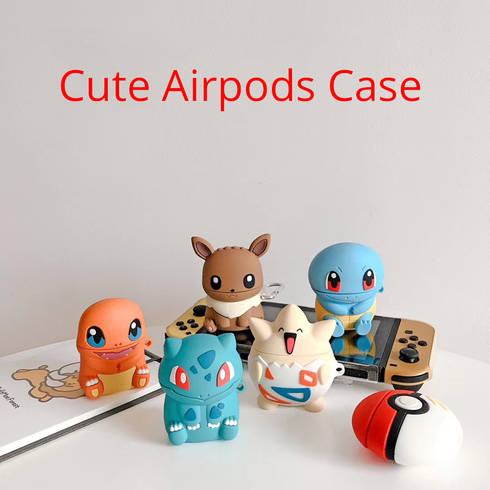 For Airpods 2 1Case Cover Cute Cartoon Squirtle Headphones Portable Protective Silicone Earphone Case For Airpods Storage Box