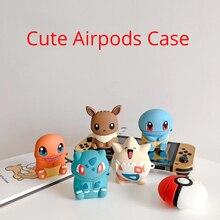 Para Airpods 2 1 funda bonita squirtle dibujos animados auriculares funda protectora portátil de silicona para Airpods caja de almacenamiento