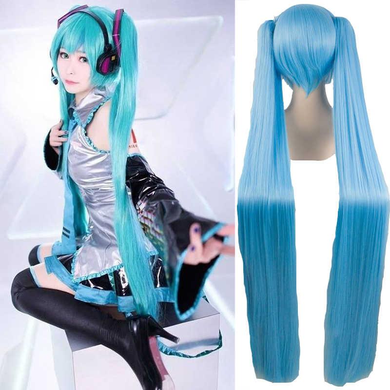 Ailiade Hoge Kwaliteit Vocaloid Cosplay Pruik Hatsune Miku Kostuum Play Pruiken Halloween Party Anime Game Haar 150 Cm Aquamarijn Pruik