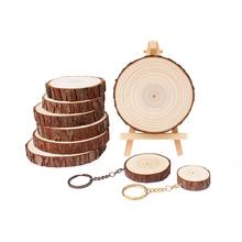 6 pcs Natural Wood Slices  DIY Christmas Crafts Wedding Decoration Party Round Log Discs Unfinished Craft kit