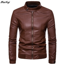 MarKyi Slim Fit Men Leather Jacket Vintage Black Zipper Male Motorcycle Bomber Pocket Stand Collar Coat