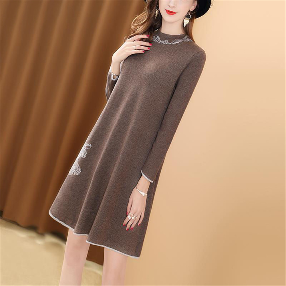 Women Dress A line Simple Elegant Party Mini Dress Spring Autumn Winter O Neck Long Sleeve Short Casual Knitted Dress Plus Size|Dresses| - AliExpress