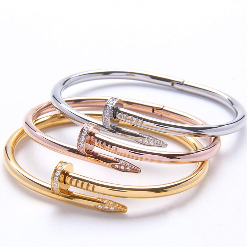 Image 3 - Mavis Hare Crystal nail love & Crystal Stainless Steel Cuff Bangle Set high quality Card buckle bracelet bangle for Woman-in Bangles from Jewelry & Accessories