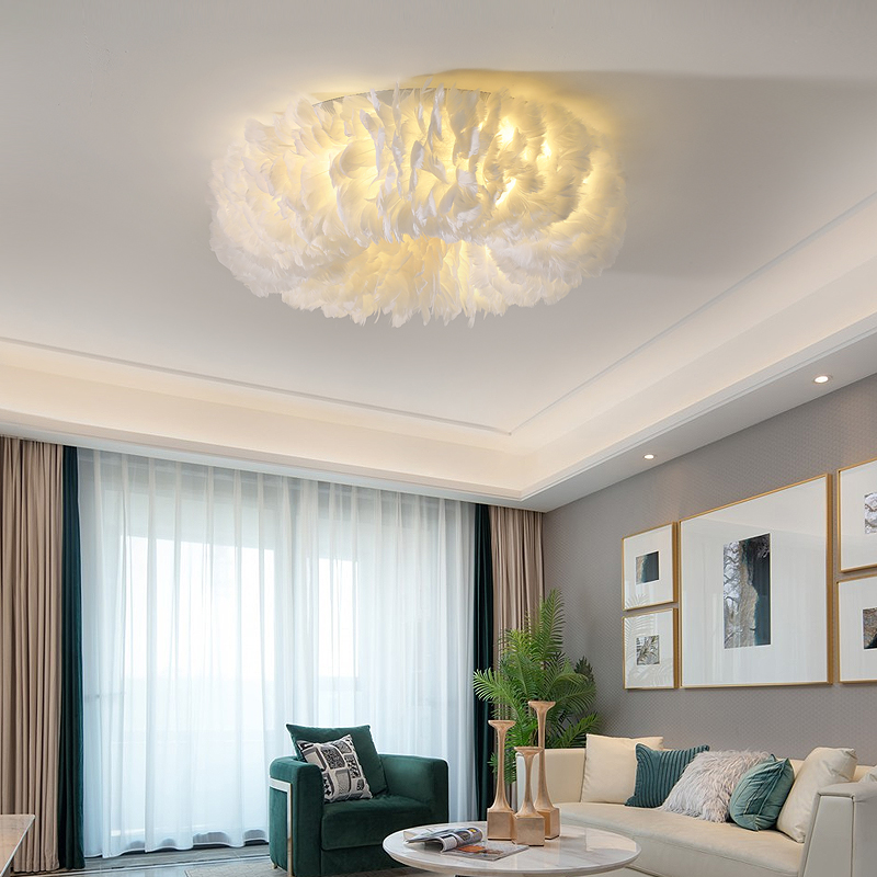 Decoration Feather Ceiling Lamp For Bedroom Modern Decor LED Ceiling Lights Home Indoor Living Room Circle Ceiling Lighting