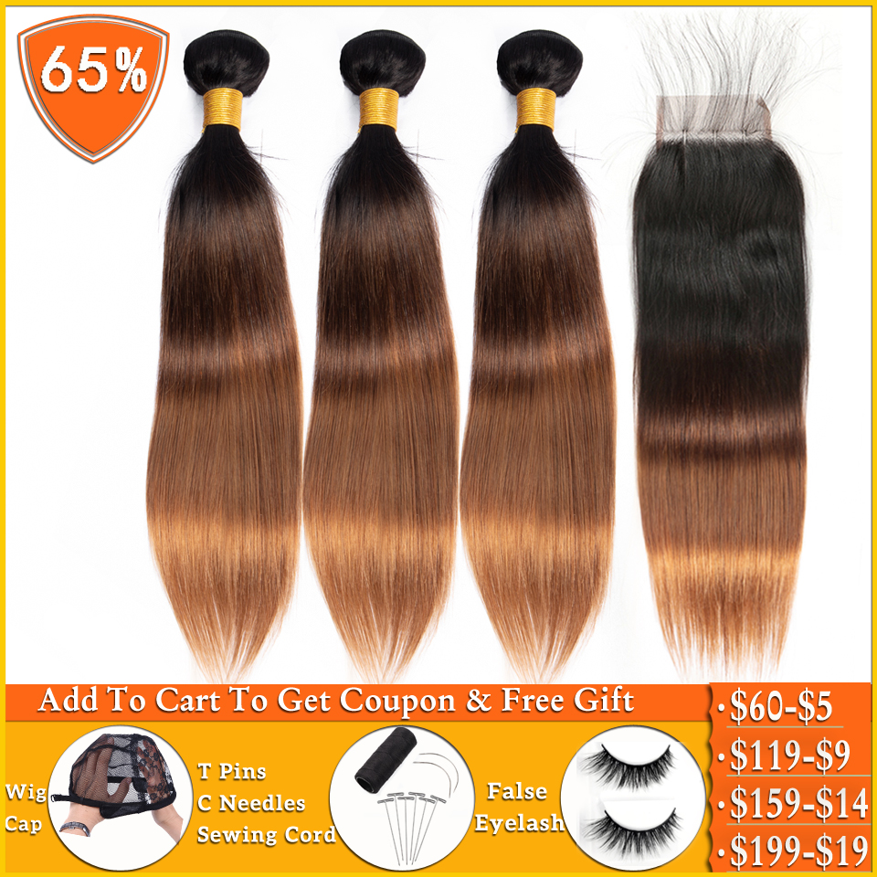 Ombre Bundles With Closure T1b/4/30 Blonde Bundles With Closure Peruvian Straight Human Hair Weave Bundles With Closure Non-remy