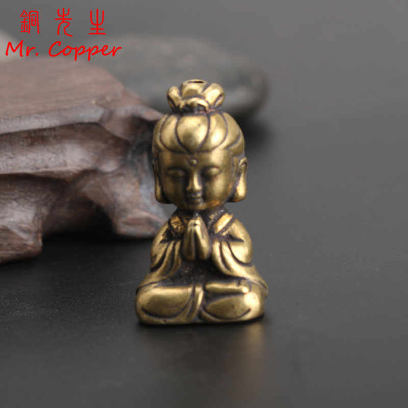Mini Copper Guanyin Buddha Statue Small Car Ornament Home Decor Accessories Religious Sculptures Living Room Desktop Decoration