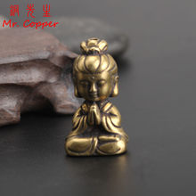Mini Copper Guanyin Buddha Statue Small Car Ornament Home Decor Accessories Religious Sculptures Living Room Desktop Decoration(China)