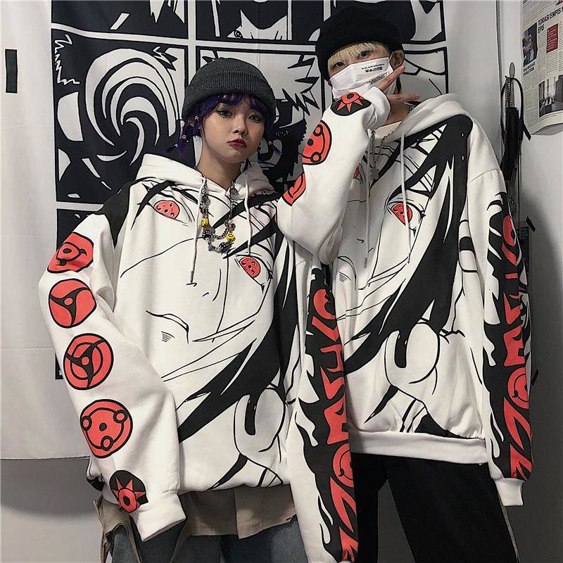Anime Naruto Hoodies Streetwear Couple Winter Coat Fashion Loose Cartoon Sasuke Japan Hoodie Sweatshirt Unisex Hoodie Men Womens