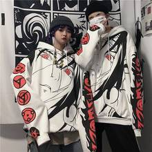 Anime Naruto Hoodies Streetwear Couple Winter Coat Fashion Loose Cartoon Sasuke