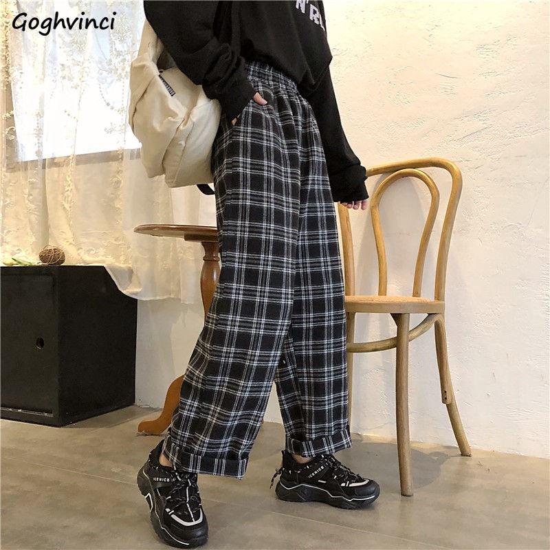 Pants Women Korean Style All-match Plaid Harajuku Retro Womens New Fashion Simple Straight Loose Elastic Waist Girls Trousers