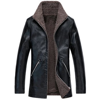 2019 Men's Winter Leather Jacket High Quality Pu Cotton Plus Velvet Coat Fashion Classic Casual Slim Warm Male Large Size