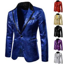 Блестящий Золотой блестящий украшенный Блейзер куртка для мужчин ночной клуб Выпускной мужской костюм Блейзер Homme костюм сценическая одежда для певицы