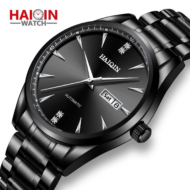 Nouveau automatique montres hommes auto vent mécanique montre-bracelet pour hommes 316L acier étanche affaires HAIQIN montre-bracelet mâle horloge