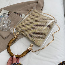 Bamboo Knot Design Handle Transparent Straw Crossbody Bags for Women 2021 Summer Fashion Chain Shoulder Handbags Totes