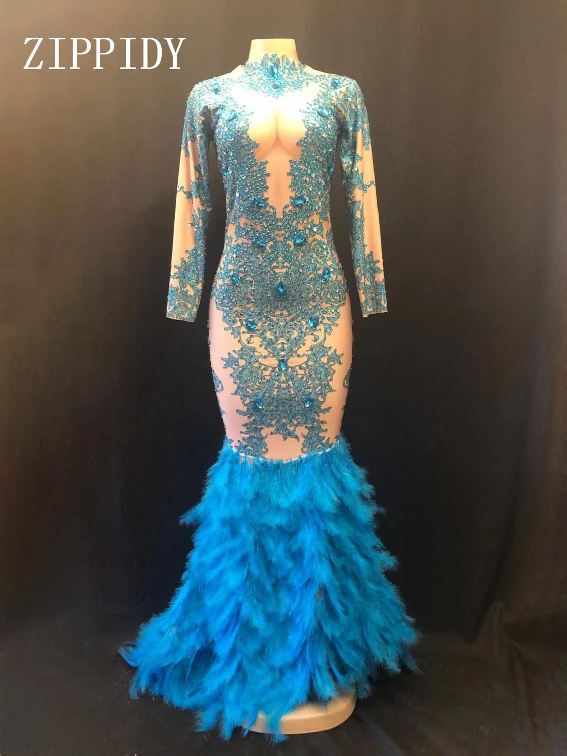 Blue Feather Rhinestones Stretch Dress Stage Outfit Women Birthday Celebrate Dresses Singer DS DJ Stage Evening Clothing