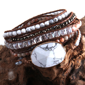 Image 4 - Bracelet en perles Boho, à la mode, fait à la main, pierres naturelles mélangées et pierres de cristal, charme, 5 bandes, cadeau pour femmes Bracelets denveloppement, collection livraison directe