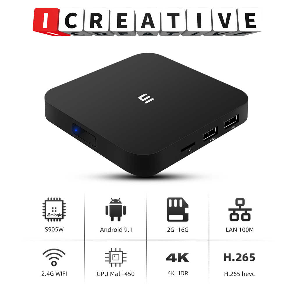 U1 Amlogic S905W Android 9.1 TV Box 2GB16GB Smart TV 4K H.265 HD Media Player 2.4G Wifi Wireless Set Top Box