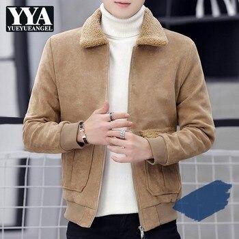 Winter Thick Fleece Liner Buckskin Velvet Collar Mens Warm Jackets Long Sleeve Zipper Pockets Casual Male Outerwear Short Coats