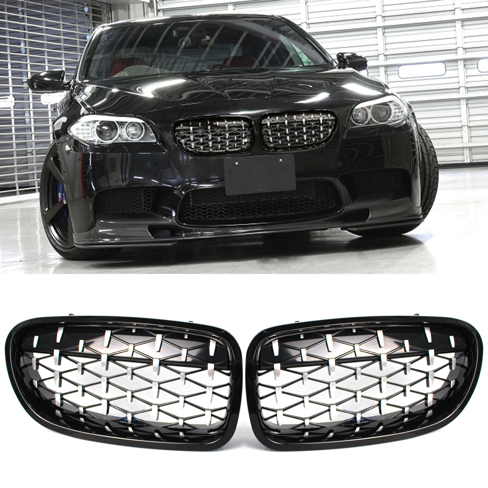 Gloss Black Front Kidney Grille Grill Compatible with BMW F10 528i 535i 550i 4D M5 2011-2016 10-17