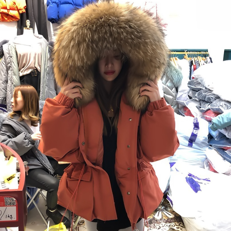 2019 Female Thicken Warm Winter Down Coat Women Large Real Natural Fur 90% White Duck Down Parka Hooded Winter Jacket YRF60