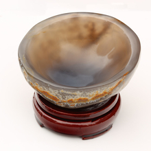 Natural Agate Bowl Raw Quartz Asian Crystal Mineral Jade Stones Rough Rock Ashtray Decorative Flower Pots Gift With Wooden Stand